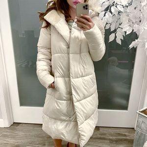 New Rachel Parcell Puffer Coat With Faux Fur Trim